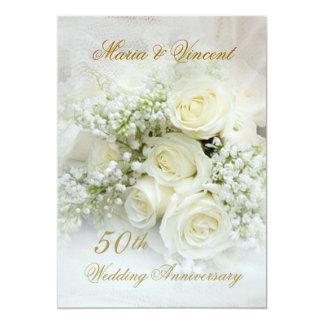 Gorgeous white roses 50th Wedding Anniversary Card