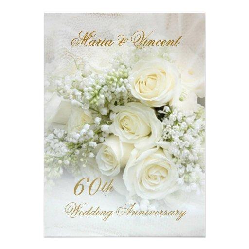 Gorgeous white roses 60th Wedding Anniversary Custom Invitation