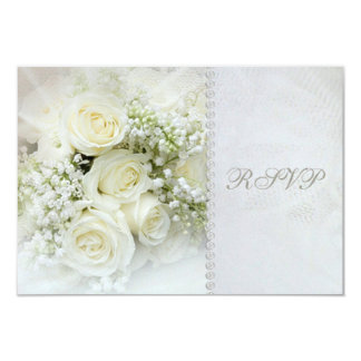 Gorgeous white roses Wedding RSVP Invitation