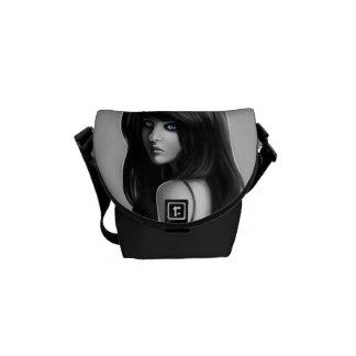 Gorgeous Woman Girl Portrait Digital Art Courier Bags