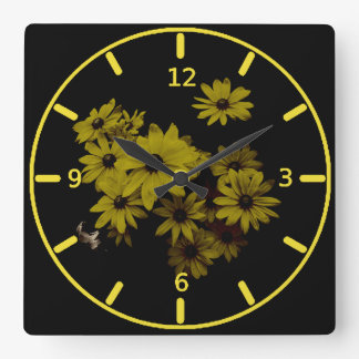 Gorgeous Yellow Daisies Dark Old World Style Clock