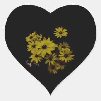 Gorgeous Yellow Daisies Dark, Old World Style Heart Sticker