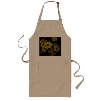 Gorgeous Yellow Daisies Dark, Old World Style Long Apron