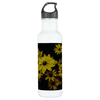Gorgeous Yellow Daisies Dark, Old World Style Stainless Steel Water Bottle