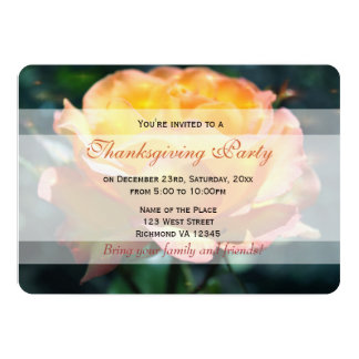 Gorgeous yellow rose flowers Tahnksgiving party Personalized Invites