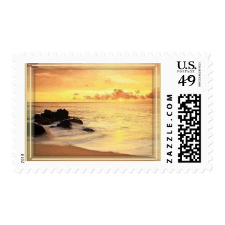 gorgeous yellow sunset - add your text postage stamps