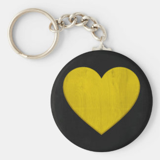 Gorgeous Yellow Wooden Heart On Black Keychain