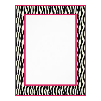 Gorgeous Zebra Print Border Stationery-Pnk Letterhead