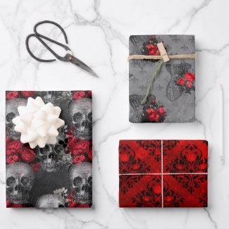Gorgeously Gothic Skulls and Designs Wrapping Paper Sheets