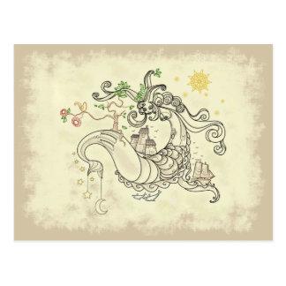 Gorgon Earth Mythology Color Cream Postcards