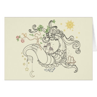Gorgon Earth Mythology Lines Color Greeting Cards