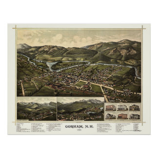 Gorham, mapa panorámico del NH - 1888 Póster