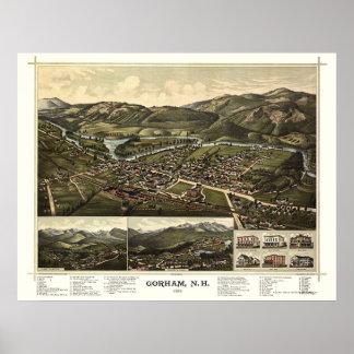Gorham, mapa panorámico del NH - 1888 Póster