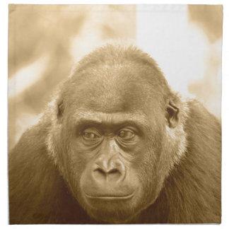gorila amistoso, sepia servilleta de papel