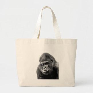 Gorila blanco negro bolsa tela grande