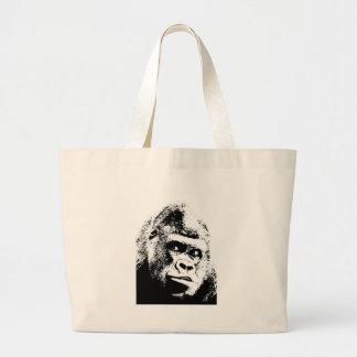 Gorila blanco negro del arte pop bolsa tela grande