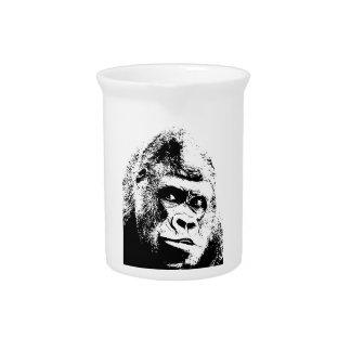 Gorila blanco negro del arte pop jarra de beber