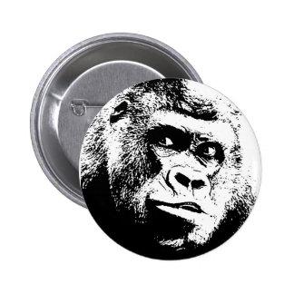 Gorila blanco negro del arte pop pin redondo de 2 pulgadas