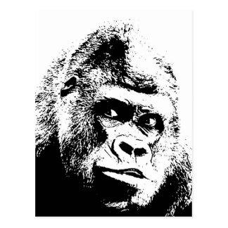 Gorila blanco negro del arte pop postales