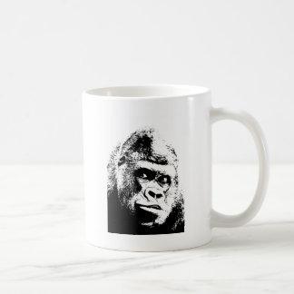 Gorila blanco negro del arte pop taza de café
