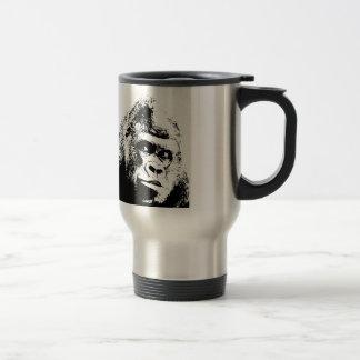 Gorila blanco negro del arte pop taza de viaje