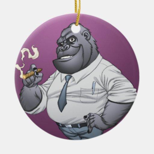 Gorila de Boss del hombre de negocios del cigarro  Ornamento Para Arbol De Navidad