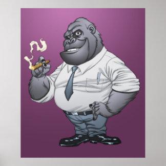 Gorila de Boss del hombre de negocios del cigarro  Póster