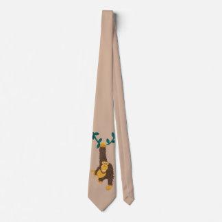Gorila de la diversión que balancea en vid corbata personalizada
