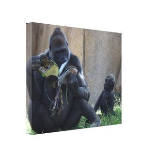 Gorila de la madre y del niño impresiones en lona estiradas