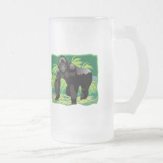 Gorila de la selva taza de cristal