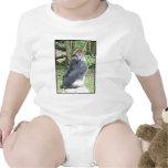 Gorila de la tierra baja en actitud que se sienta traje de bebé
