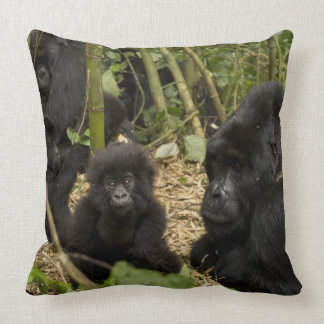Gorila de montaña, adulto con los jóvenes 2 cojín decorativo