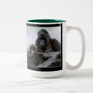 Gorila de montaña de los grandes monos y gorila taza de dos tonos