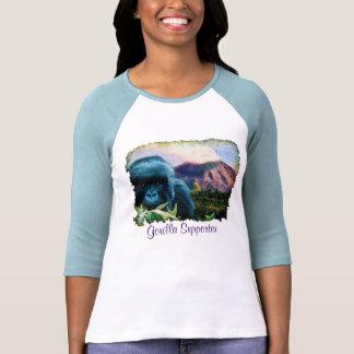 Gorila de montaña y camisa de la erupción volcánic