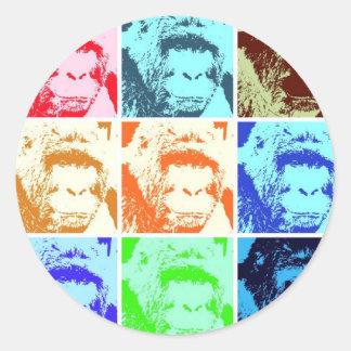 Gorila del arte pop pegatina redonda