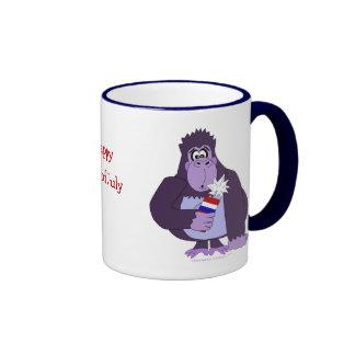 Gorila del dibujo animado con fuegos artificiales taza a dos colores