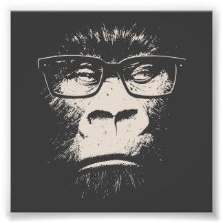 Gorila del inconformista con los vidrios impresión fotográfica