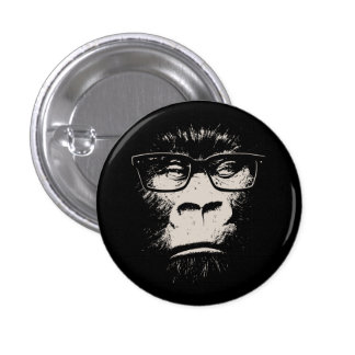 Gorila del inconformista con los vidrios pin redondo 2,5 cm
