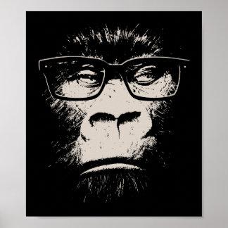 Gorila del inconformista con los vidrios póster