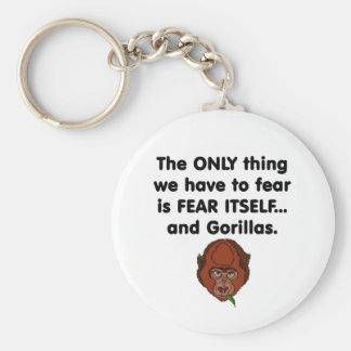 Gorila del miedo sí mismo llavero redondo tipo pin
