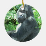 gorila del silverback adorno navideño redondo de cerámica