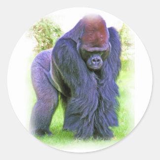 Gorila del Silverback en aceite Etiquetas Redondas
