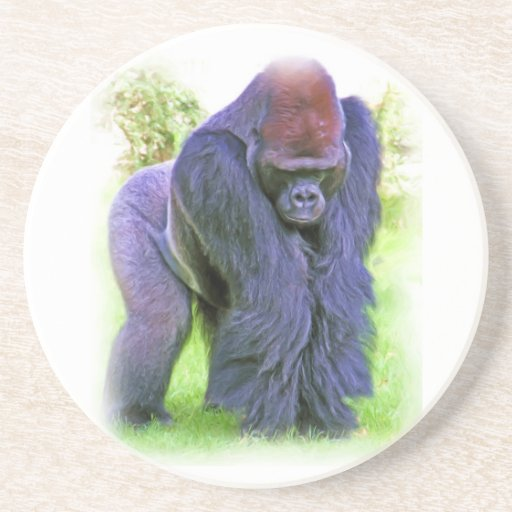 Gorila del Silverback en aceite Posavasos De Arenisca