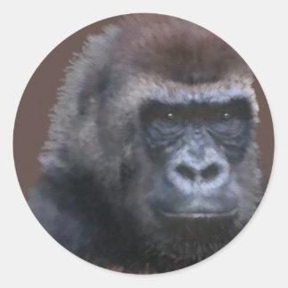 Gorila del Silverback Etiqueta Redonda