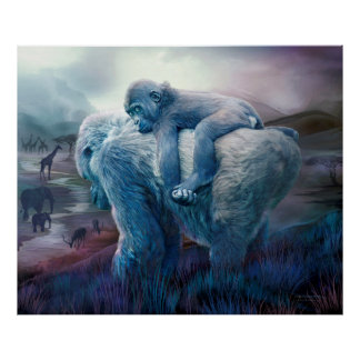 Gorila del Silverback - poster largo del arte del
