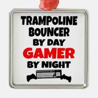 Gorila del trampolín del videojugador adorno navideño cuadrado de metal