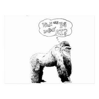 Gorila divertido tarjeta postal