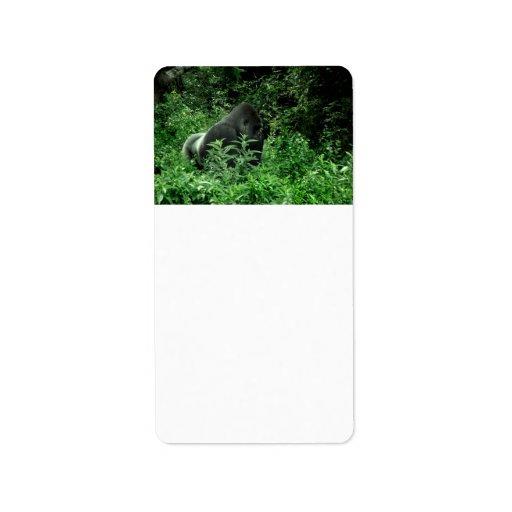 Gorila en animal verde de la fauna del tinte de la etiqueta de dirección