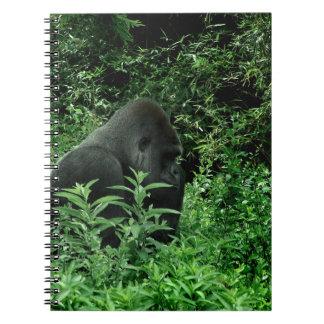 Gorila en animal verde de la fauna del tinte de la note book
