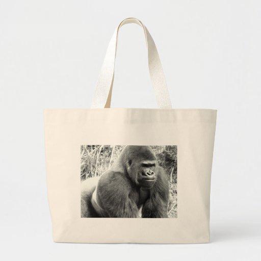 Gorila en blanco y negro bolsa tela grande